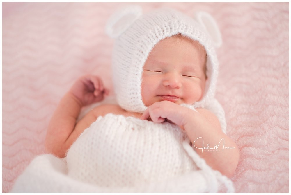 Newborn session with baby Amelia - look at that sweet smile.