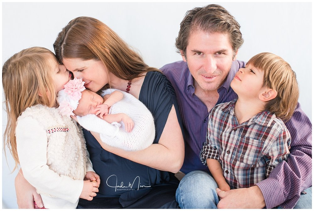 The lovely Florez family during baby Amelia's newborn session at the Florez family home in Scottsdale, Arizona.
