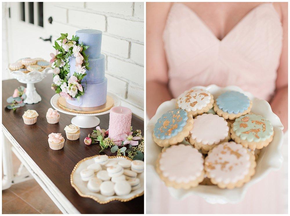 Romantic wedding dessert table by Sift Bakehouse AZ, photographed at Gather Estate in Mesa, Arizona.