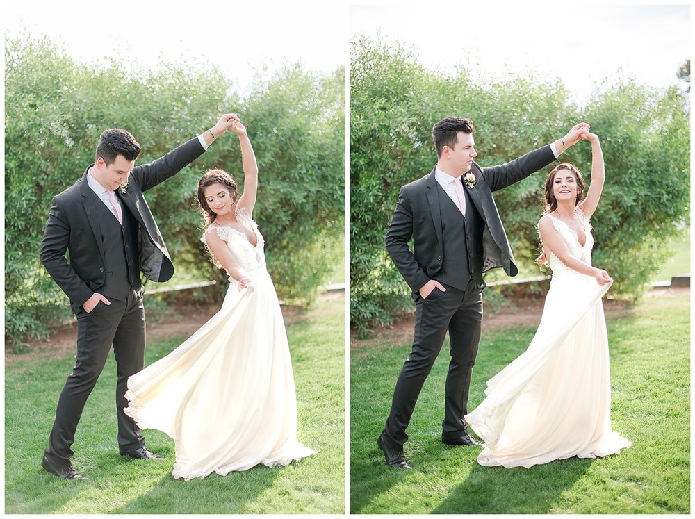 Bride Jessica wearing dress provided by Bella Lily Bridal in Phoenix and twirling with groom Slaven, photographed at Gather Estate in Mesa, Arizona.