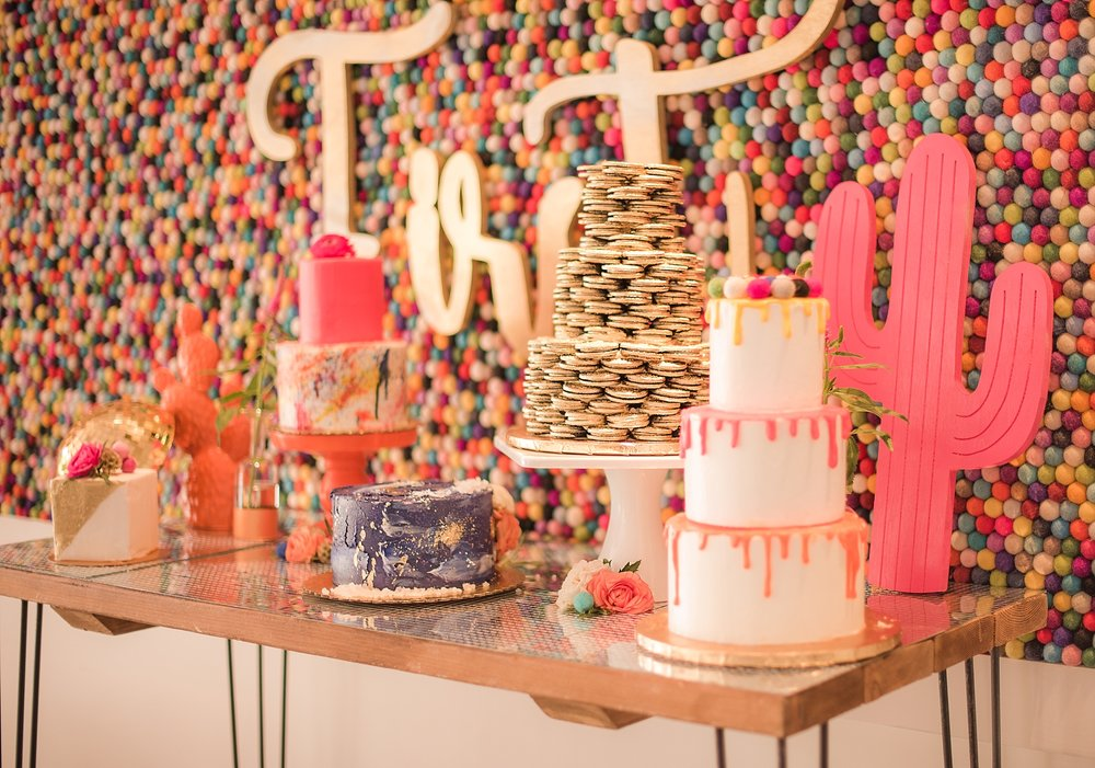 Dessert Table provided by Sift Bakehouse AZ, displayed at The Saguaro Scottsdale's Agave Ballroom. Photos by Jade Min Photography.