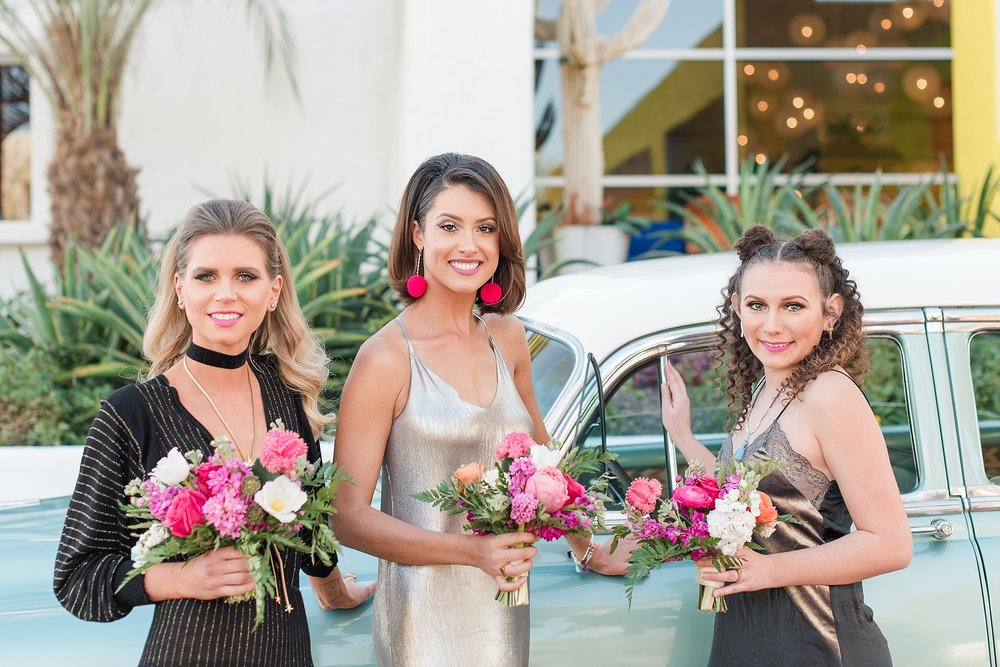 Vintage car provided by Roscoe + Louie. Bridesmaids Rachele Harrison and Tatiana Bradasevic wearing fashions by Zara, hair and makeup done by Makiaj Beauty, and jewelry by @francesvintage. Photos taking by Jade Min Photography at The Saguaro Scottsdale.