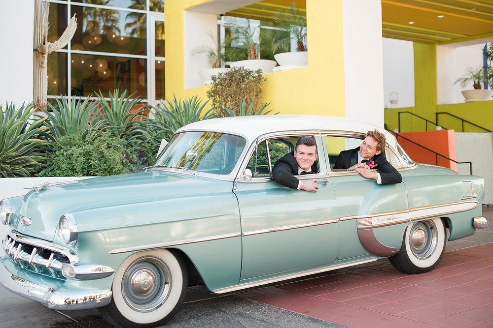 Vintage car provided by Roscoe + Louie. Groom models Zach Jones & Seth Powers wearing tuxes provided by Celebrity Tux & Tails. Photos taking by Jade Min Photography at The Saguaro Scottsdale.