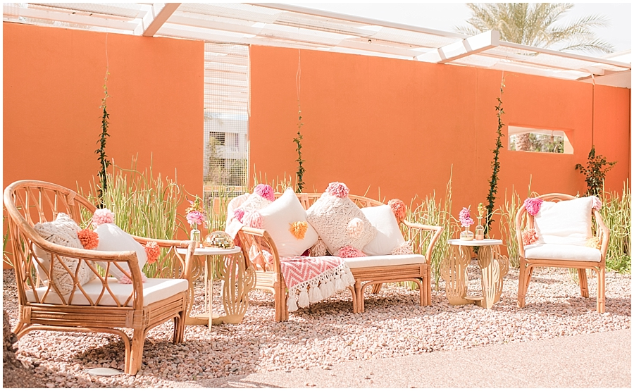 Ceremony space at The Saguaro Scottsdale. Florals and design provided by Bloom + Blueprint, and furniture rentals provided by Dang Fine Rentals. Photos by Jade Min Photography.