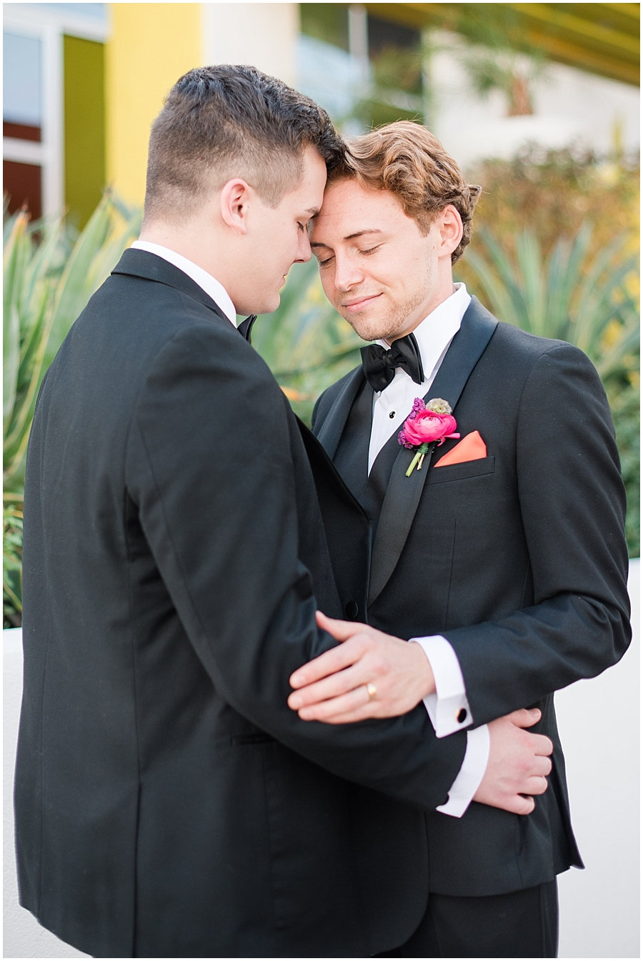 Groom models Zach Jones & Seth Powers wearing tuxes provided by Celebrity Tux & Tails. Photos by Jade Min Photography.