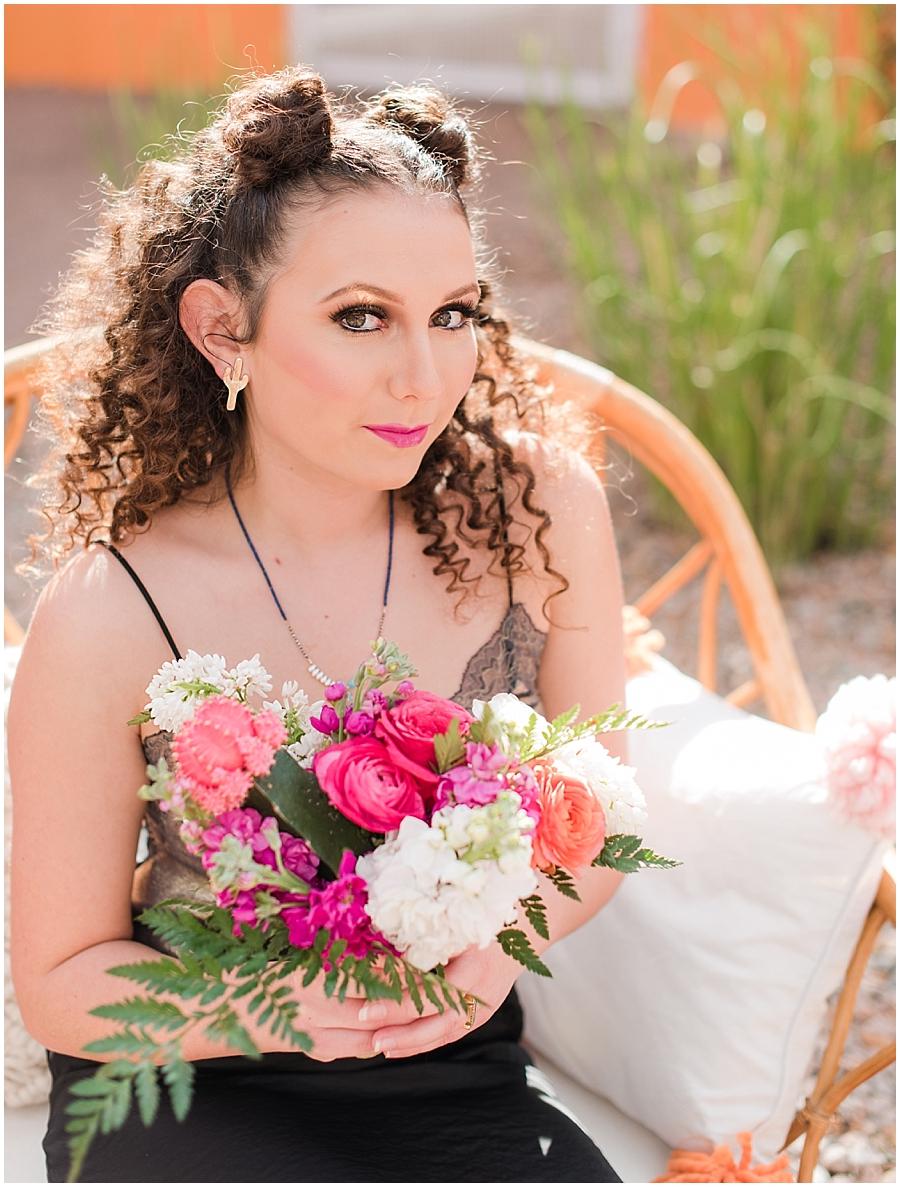 Gorgeous bridesmaid Tatiana Bradasevic wearing fashion by Zara, hair and makeup done by Makiaj Beauty, and jewelry by @francesvintage. Photos taking by Jade Min Photography at The Saguaro Scottsdale.