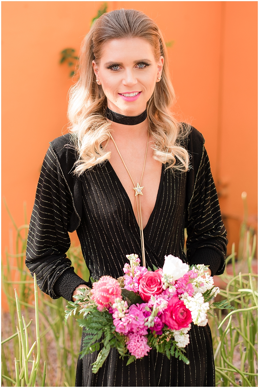 Gorgeous bridesmaid Emily Gehrke wearing fashion by Zara, hair and makeup done by Makiaj Beauty, and jewelry by @francesvintage. Photos taking by Jade Min Photography at The Saguaro Scottsdale.
