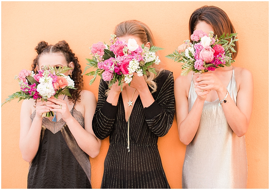 Gorgeous bridesmaids Emily Gehrke, Rachele Harrison, and Tatiana Bradasevic wearing fashions by Zara, hair and makeup done by Makiaj Beauty, and jewelry by @francesvintage. Photos taking by Jade Min Photography at The Saguaro Scottsdale.