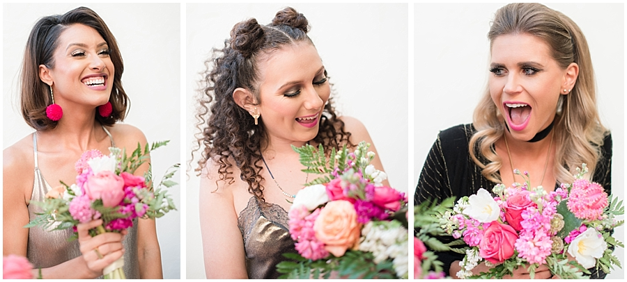 Gorgeous bridesmaids wearing fashions by Zara, hair and makeup done by Makiaj Beauty, and jewelry by @francesvintage. Photos taking by Jade Min Photography at The Saguaro Scottsdale.