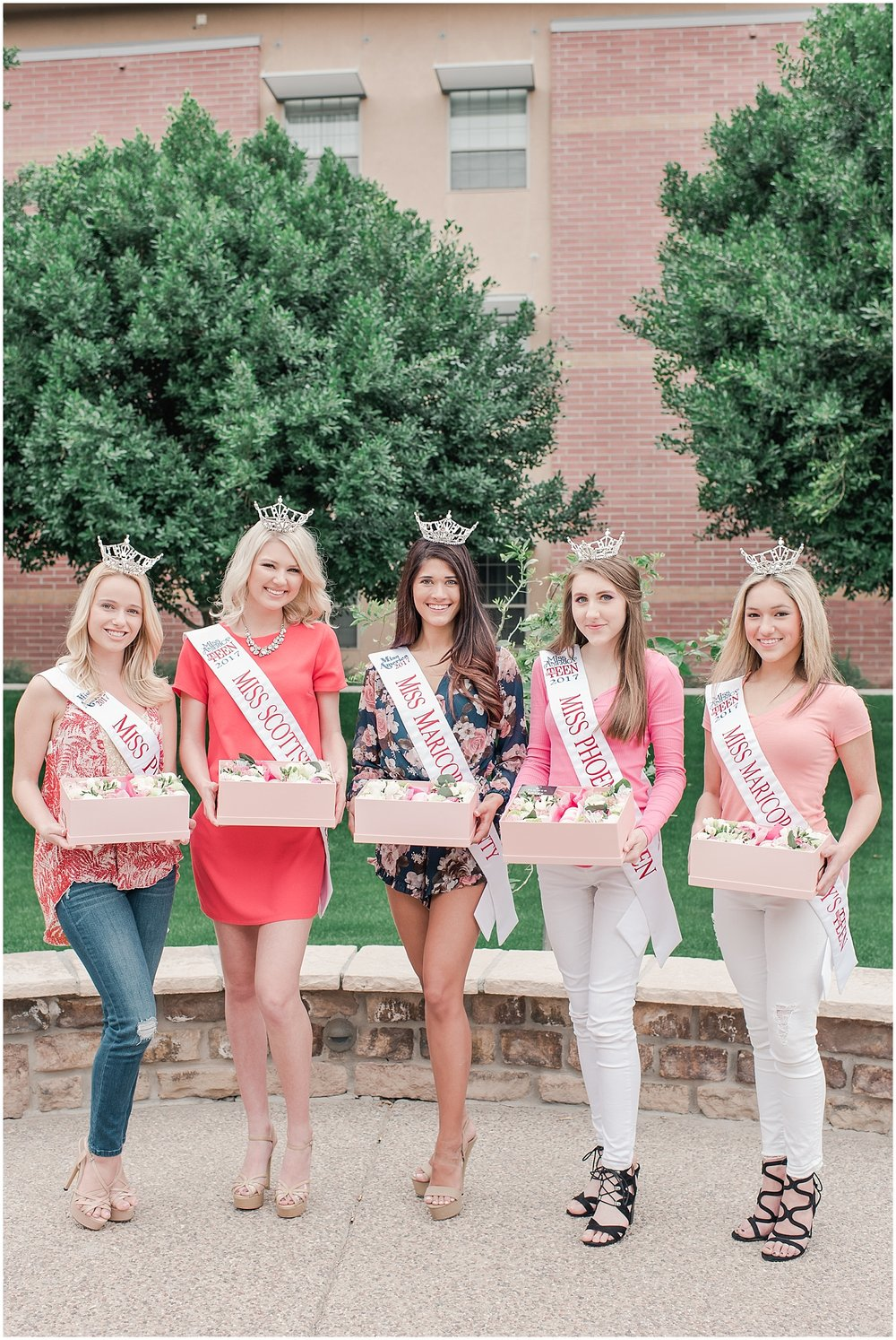 Beautiful boxes filled with an arrangement of lovely flowers and delicious French macarons made with love by Flower from Lower, and held by Miss Maricopa County 2017 Courtney Ortega, Miss Phoenix 2017 Alyssa Scofield, Miss Maricopa's Outstanding Teen Ela Wootton, Miss Scottsdale's Outstanding Teen Alyssa Hart, and Miss Phoenix's Outstanding Teen Cassidy Miller. Photo taken by Jade Min Photography.