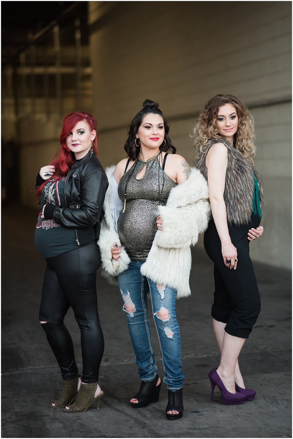 Maternity session with beautiful mommy-to-bes at downtown Phoenix. Photo taken by Jade Min Photography.