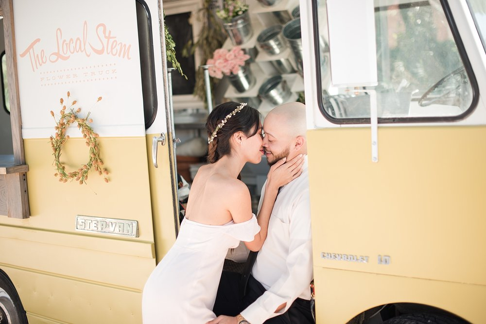 The Local Stem flower truck with our engagement couple at Coup Des Tartes. Photo by Jade Min Photography.