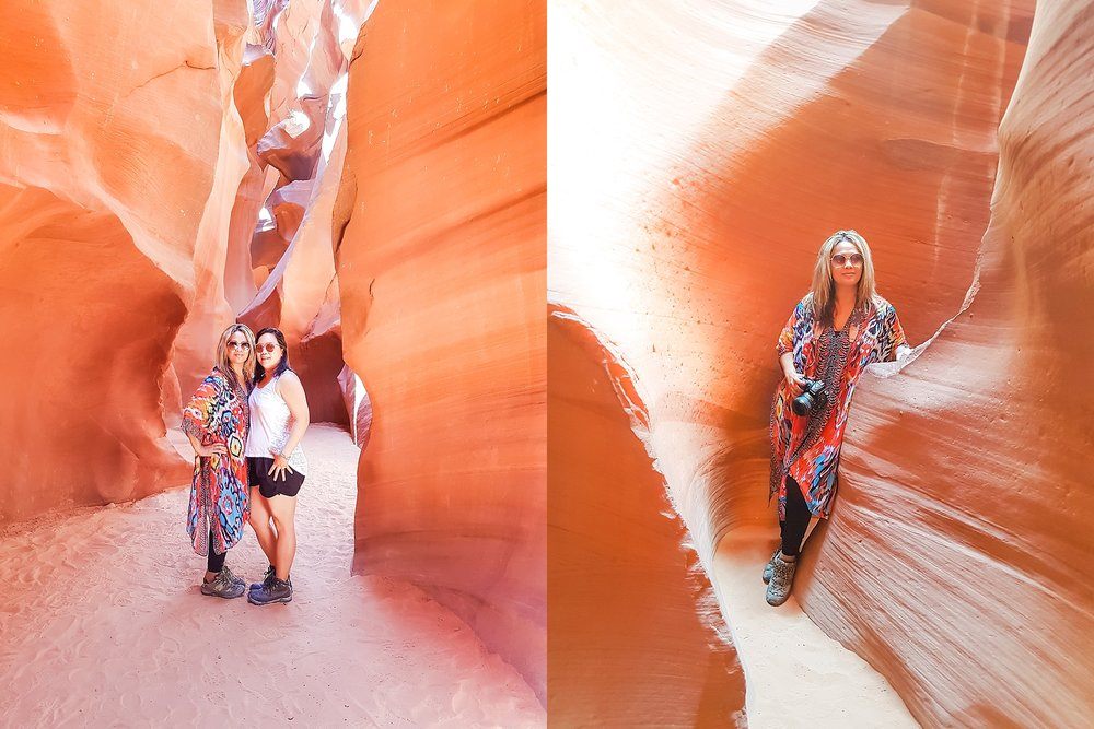 Jade and Darlynne inside the Lower Antelope Canyon near Page, Arizona.