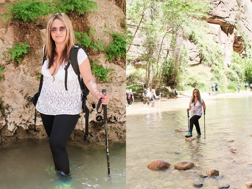 Jade hiking in the water at the Narrows trail within Zion National Park near Springdale, Utah. Travel photo by Jade Min Photography.