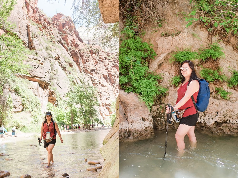 Darlynne hiking in the water at the Narrows trail within Zion National Park near Springdale, Utah. Travel photo by Jade Min Photography.
