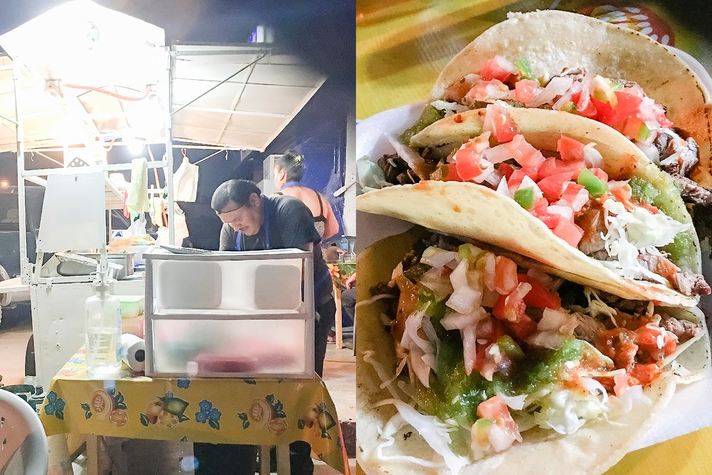 We had better luck with food Friday evening! These street tacos tasted fresh and amazing, and were some of the best tacos I've had to date!  Be sure to try and find this taco stand run by this husband and wife team. Thank you Eunice for driving us around to look for taco stalls!