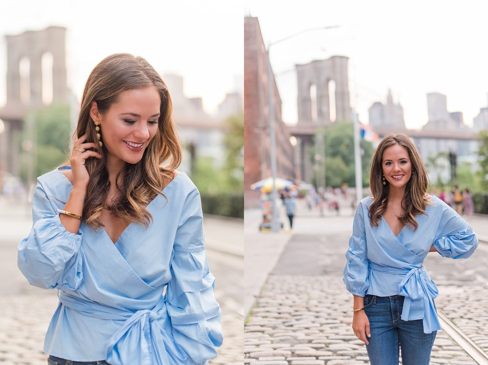 Photoshoot at DUMBO, Brooklyn, New York, with Kayla (@FashionableFrugal). Photos taken by Jade Min Photography.