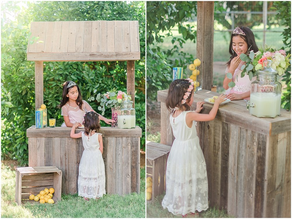 Lemonade stand photo shoot at Queen Creek, Arizona. Photos by Jade Min Photography.
