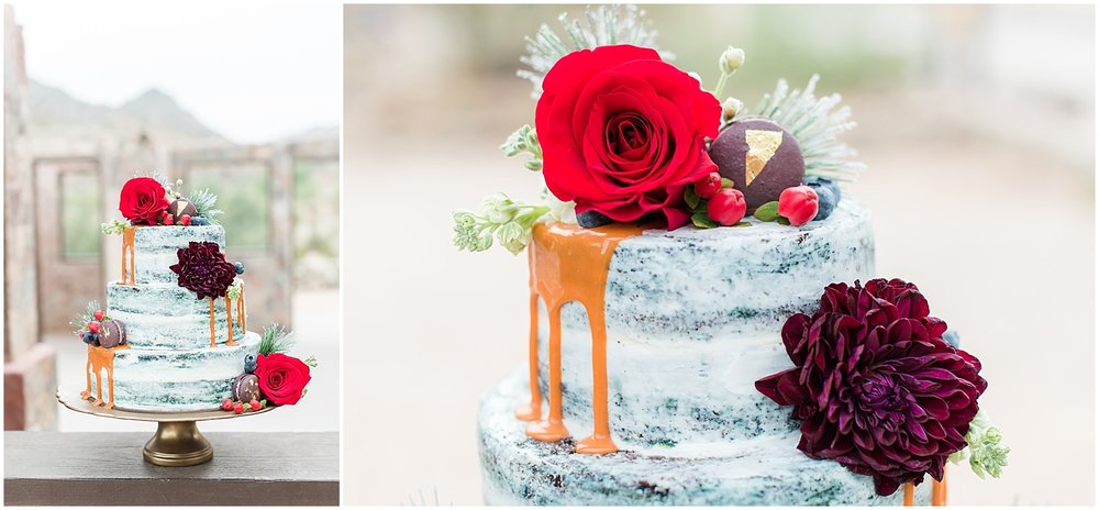 Amazing wedding cake made by Antigo Cakes and photographed at Scorpion Gulch in Phoenix! Photos taken by Phoenix wedding photographer, Jade Min Photography.
