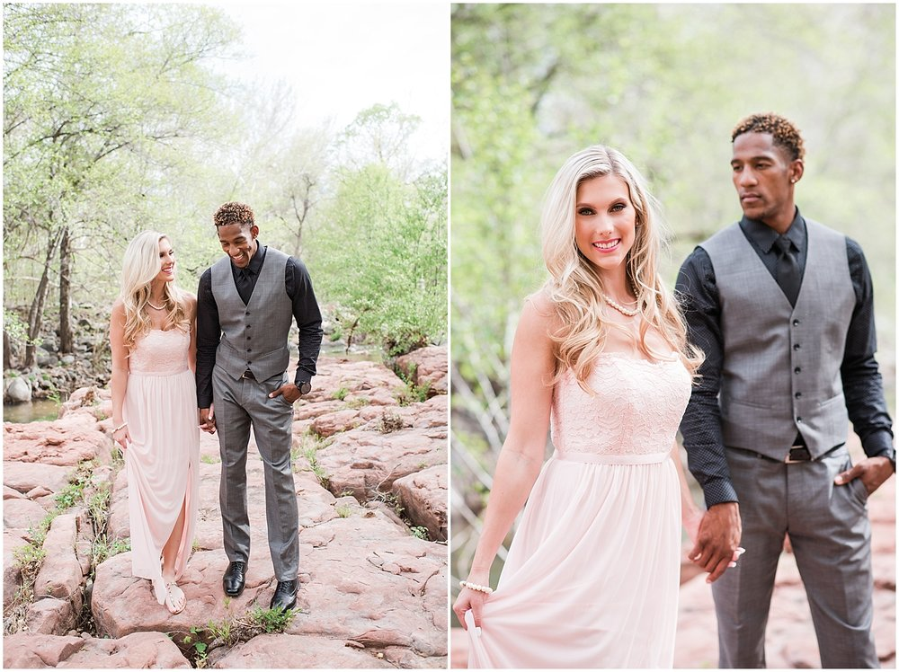 Destination engagement photo session at L'Auberge Resort in Sedona, Arizona. Photos taken by Jade Min Photography in Gilbert, Arizona.