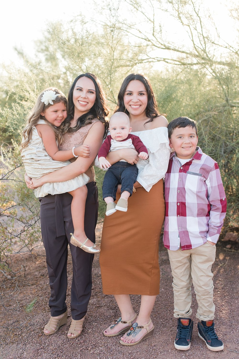 Rodriguez family photo session at Papago Park in Phoenix,  Arizona. Photos by Jade Min Photography.