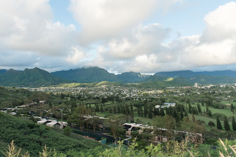 View of the cloud touched mountains on the other side. -