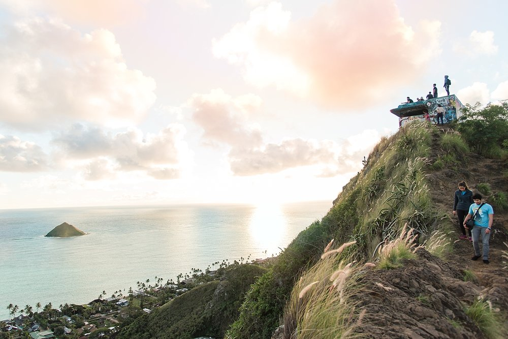 Fellow hikers enjoying the beautiful views from the first pillbox. -