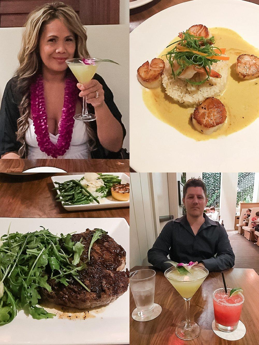 Christmas Dinner at Tommy Bahama Restaurant in Waikiki, Hawaii. Jade Min Photography.