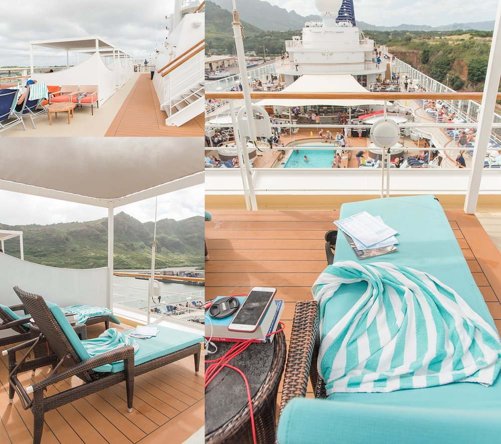 Relaxing in one of the cabanas on the deck of the Pride of America, docked on the Hilo side of Kaua'i, Hawaii.