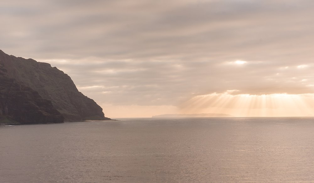 Sunset view of Na Pali Coast from the deck of the Pride of America.