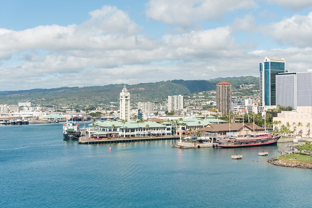 View of Honolulu Cruise Port from the ship. -