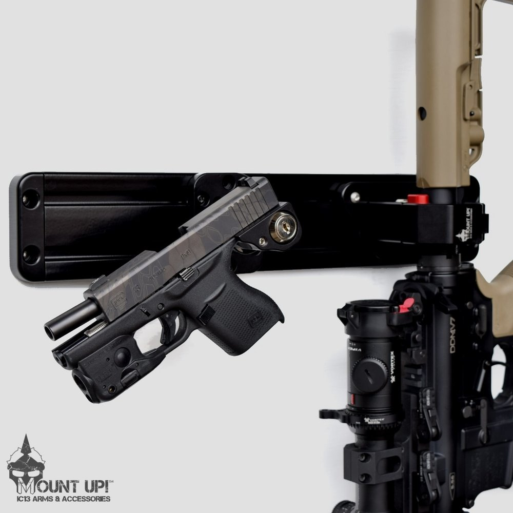 Handgun Mount On Rail System with Rifle