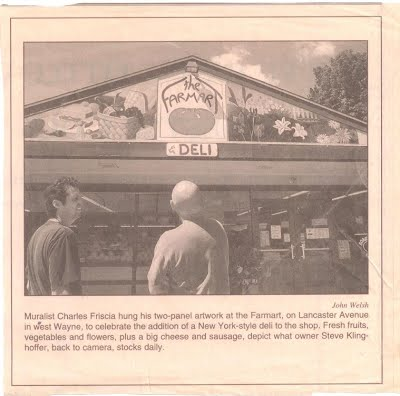 Steve admiring the mural at his opening of FarmArt retail in Strafford, PA in 2000