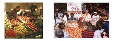 Steve at his various farmer's market locations in the '90s...