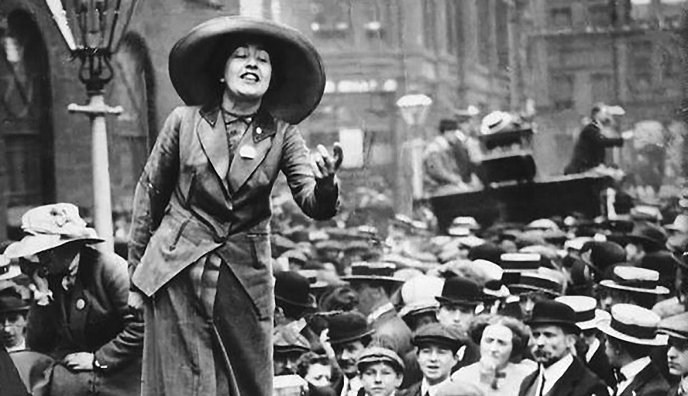 Iconic suffragette Sylvia Pankhurst (b. 1882) addresses a crowd in the UK.