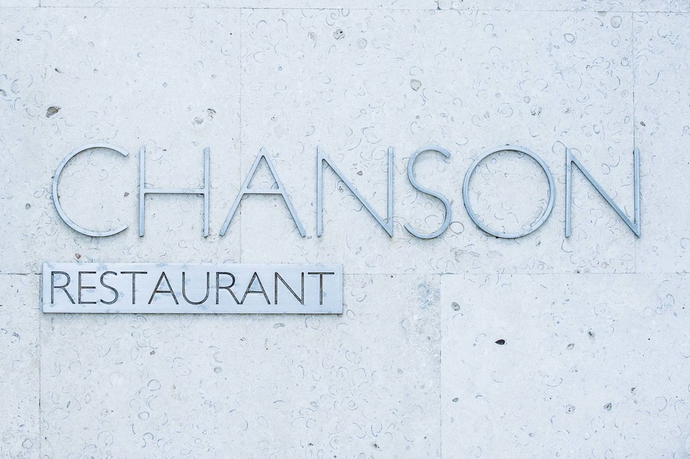 Chanson Restaurant sign at the Royal Blues Hotel in Deerfield Beach, Florida.