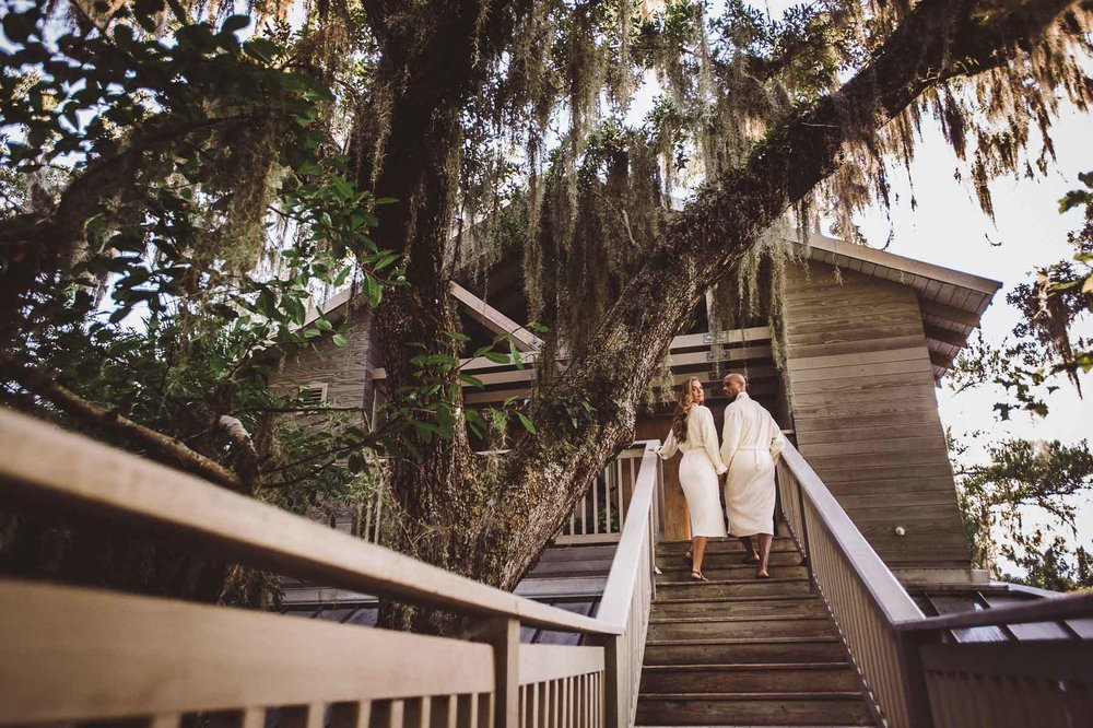 Treehouse yoga at the Omni Amelia Island Resort Spa.