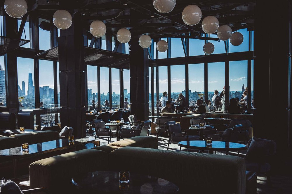 Views of the New York City skyline from the Westlight restaurant in Brooklyn, New York.