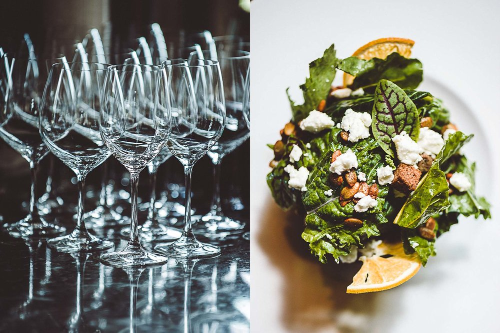 Wine glasses and a salad at the Ritz-Carlton, Amelia Island, Florida.