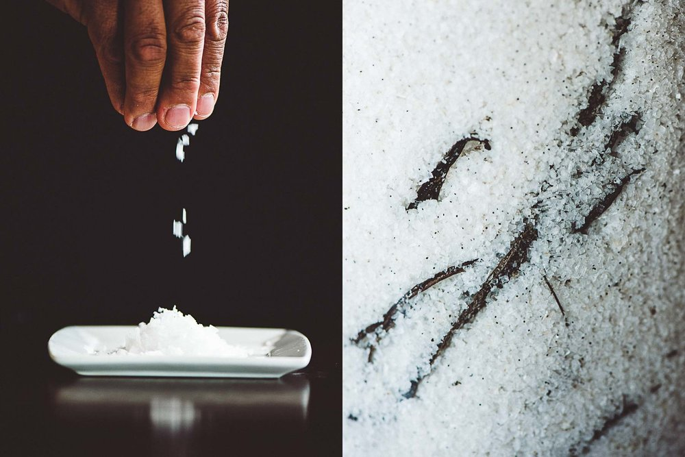 Chef Rick Laughlin works with salt at the Ritz-Carlton, Amelia Island, Florida.