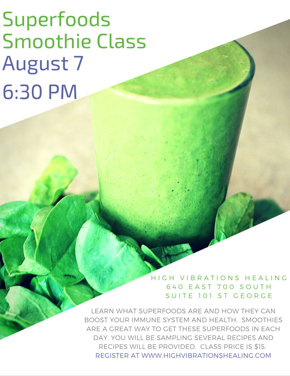 superfood smoothie class health august