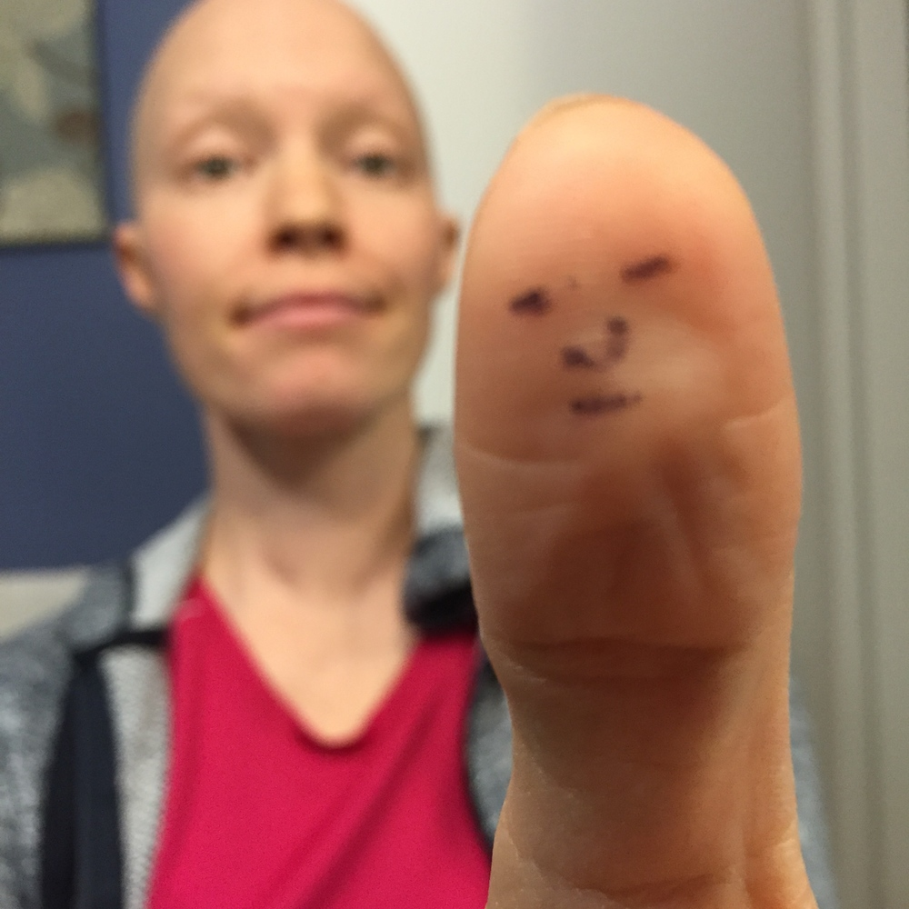 In the middle of chemo, when I realized I looked like my thumb.
