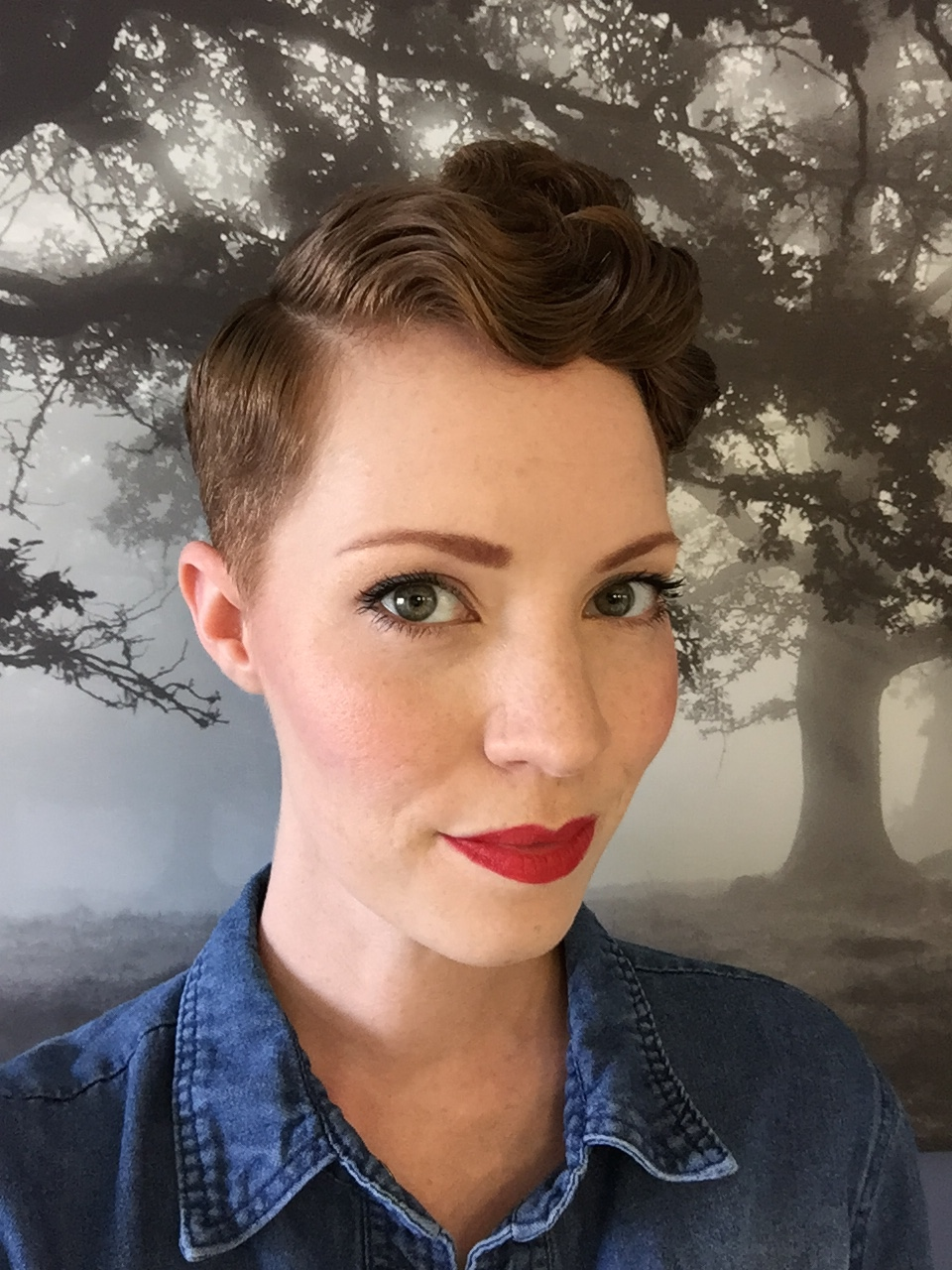 One year post-chemo. Faded pixie cut. Chemo Curls on top.