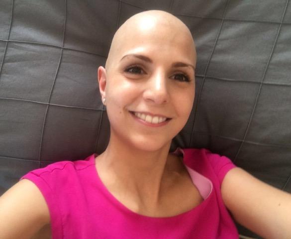 Lorena de la pena breast cancer CancerGrad Yearbook bald chemo pink smile