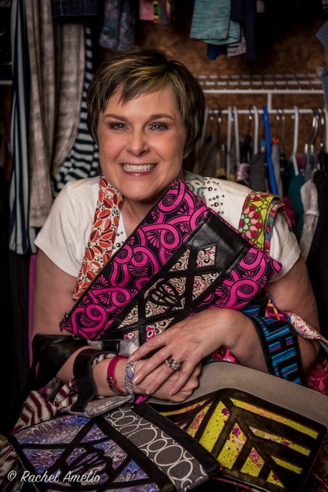 Heidi Kelly of HKelly designs with all her bags Photo by Rachel Amelio.jpg