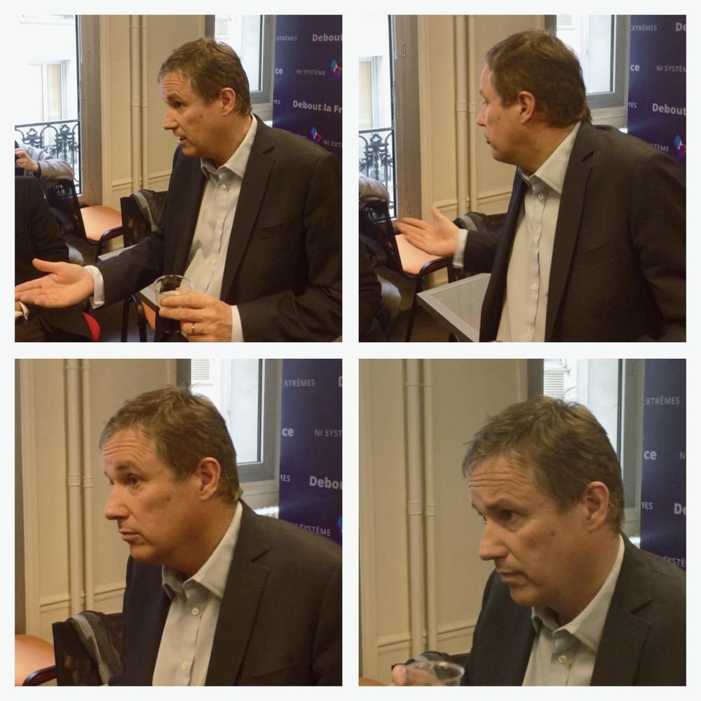 Nicolas Dupont-Aignan répondant aux questions des journalistes
