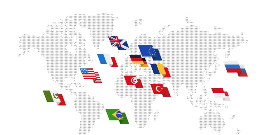 Les 12 pays où Voxe était présent en 2014