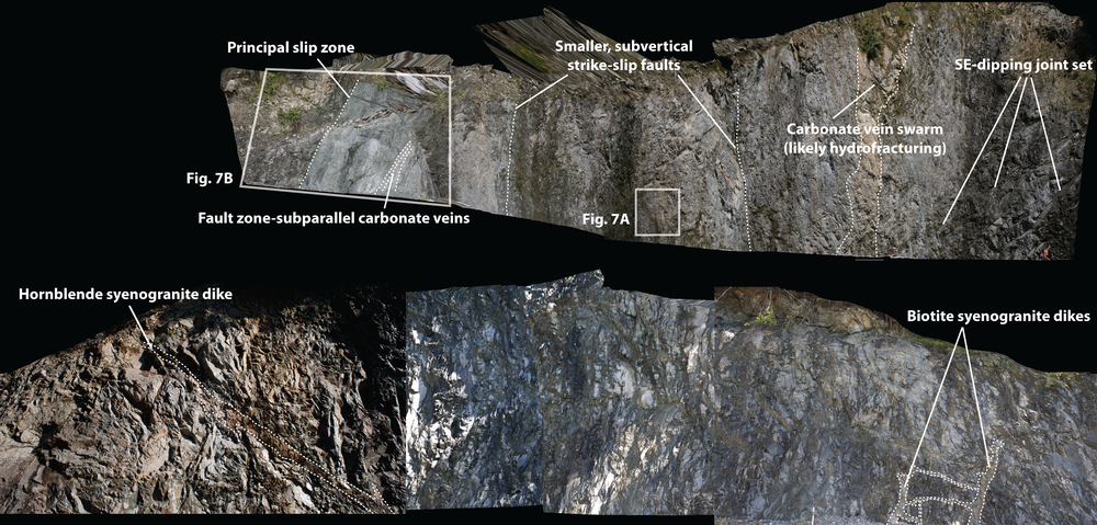 Annotated images extracted from a 3D whole-outcrop photo stitch depicting the principal slip zone, fault core, and damage zone of the Smithy Creek fault, South Island, New Zealand (from Lund Snee et al., 2014).