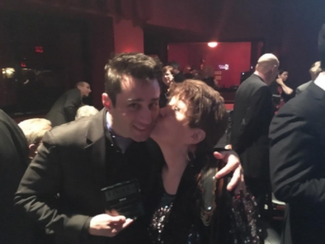 Joan congratulating Matt Baker on his winning the Bistro Award (NYC)