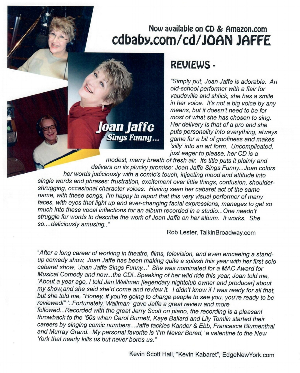 joan jaffe sings funny.....     is available at  cdbaby.com  amazon    itunes                                                                                           or go directly to  cdbaby.com/m/cd/joanjaffe